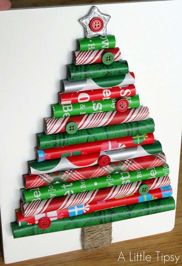 Wrapping Paper Christmas Tree #Christmas #Christmastree #homemade #DIY #Christmasdecor #decorhomeideas