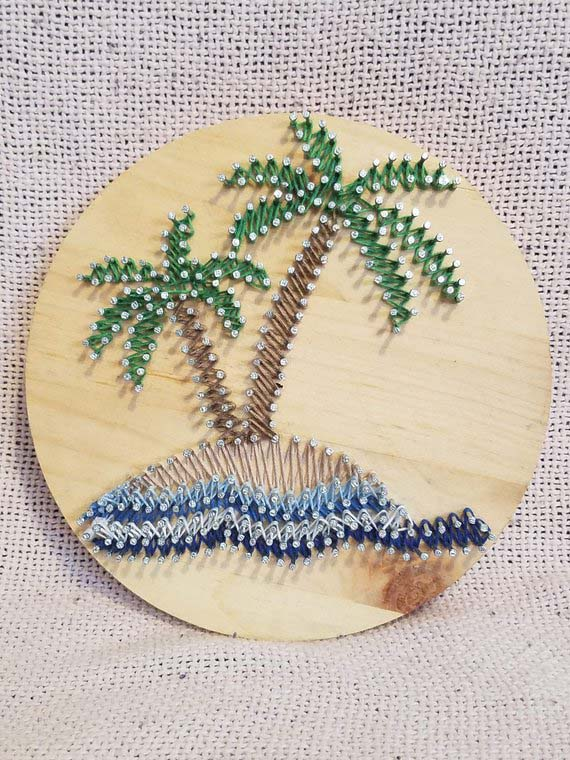 Beach Palms String Art #stringart #diy #stringartideas #decorhomeideas