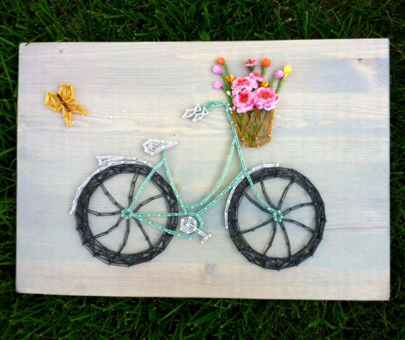 Bicycle String Art #stringart #diy #stringartideas #decorhomeideas