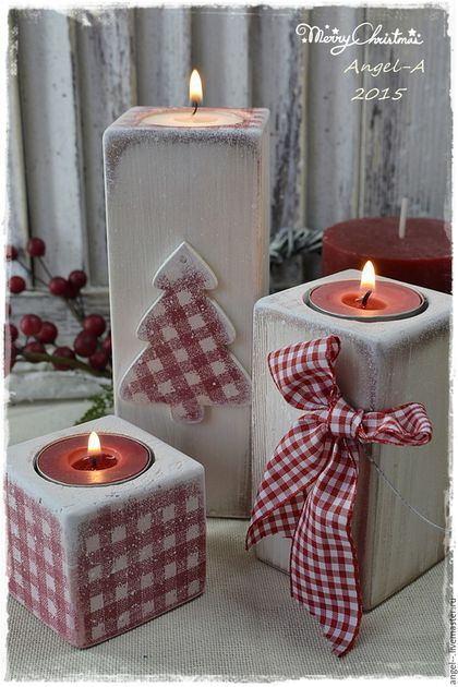 Christmas Cube Candle Holders #Christmas #Christmasdecor #candles #centerpiece #decorhomeideas