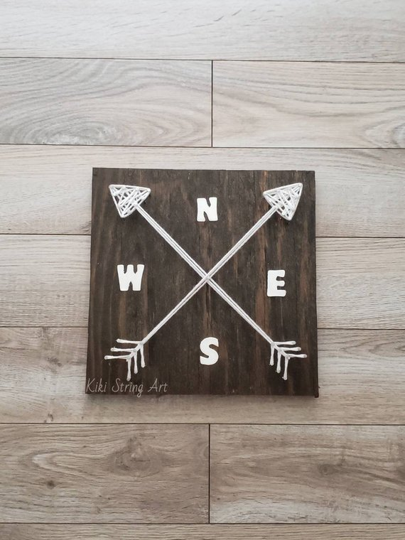 Compass Arrow String Art #stringart #diy #stringartideas #decorhomeideas