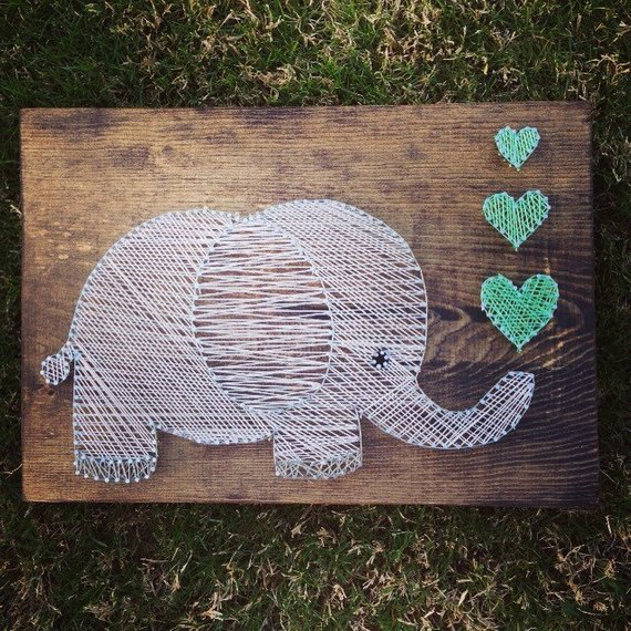 Cute Elephant String Art #stringart #diy #stringartideas #decorhomeideas