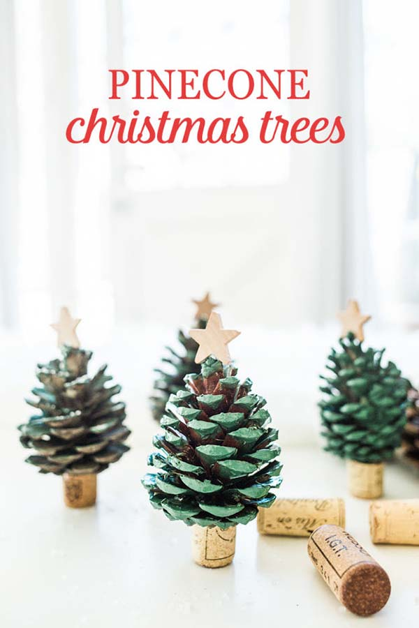 DIY Pine Cones Christmas Trees #Christmas #Christmasdecor #pinecones #crafts #decorhomeideas