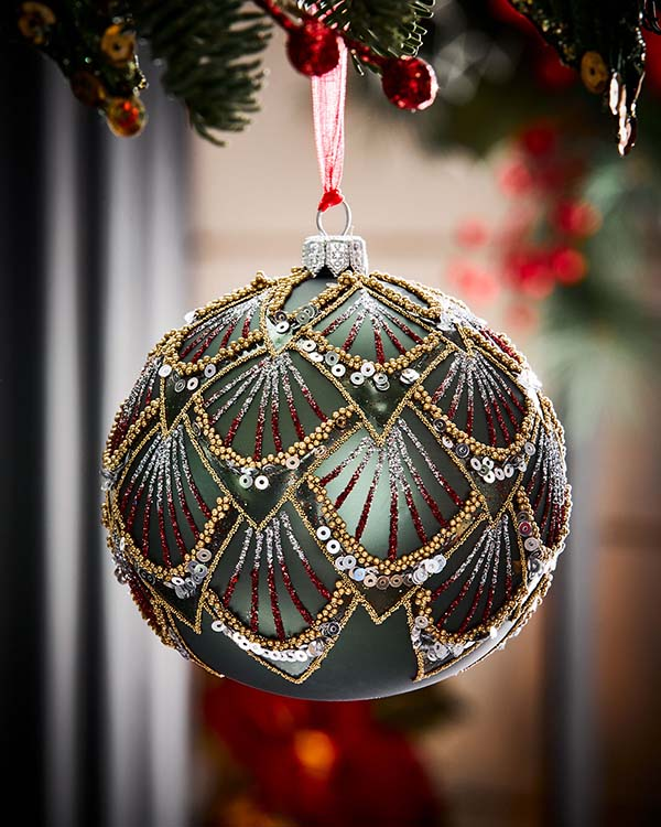 Dark Green Matte Christmas Tree Ball #Christmas #ornaments #Christmasdecor #decorhomeideas