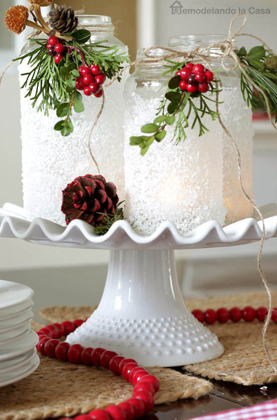 Epsom Salt Mason Jar Christmas Centerpiece #Christmas #centerpiece #Christmasdecor #decorhomeideas