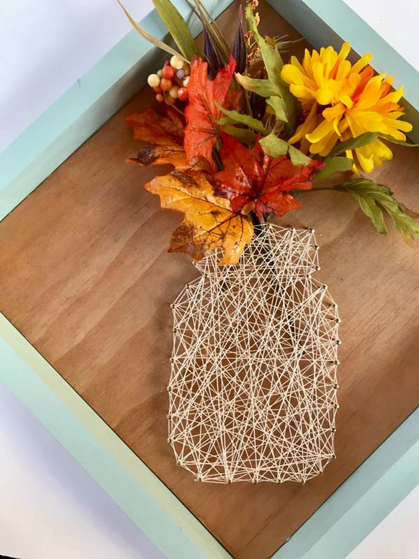 Filled Mason Jar String Art #stringart #masonjar #decorhomeideas