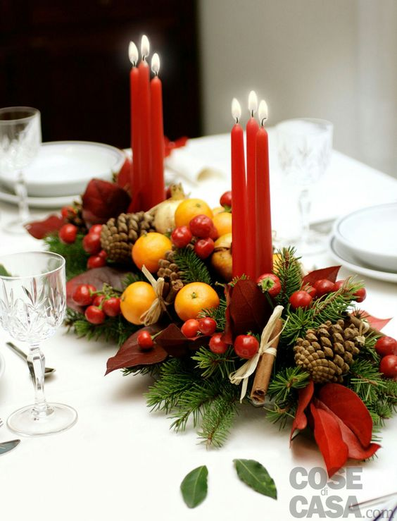 Fruit Themed Christmas Candle Centerpiece #Christmas #Christmasdecor #candles #centerpiece #decorhomeideas