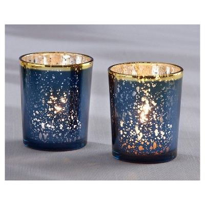 Gold Navy Blue Christmas Candle Holders #Christmas #Christmasdecor #gold #navyblue #decorhomeideas