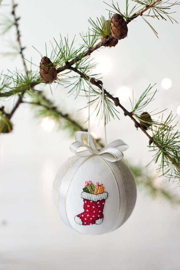 Hand Embroided Christmas Ornament #Christmas #ornaments #Christmasdecor #decorhomeideas