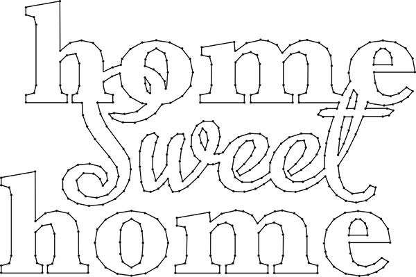 Home Sweet Home Sign String Art Pattern