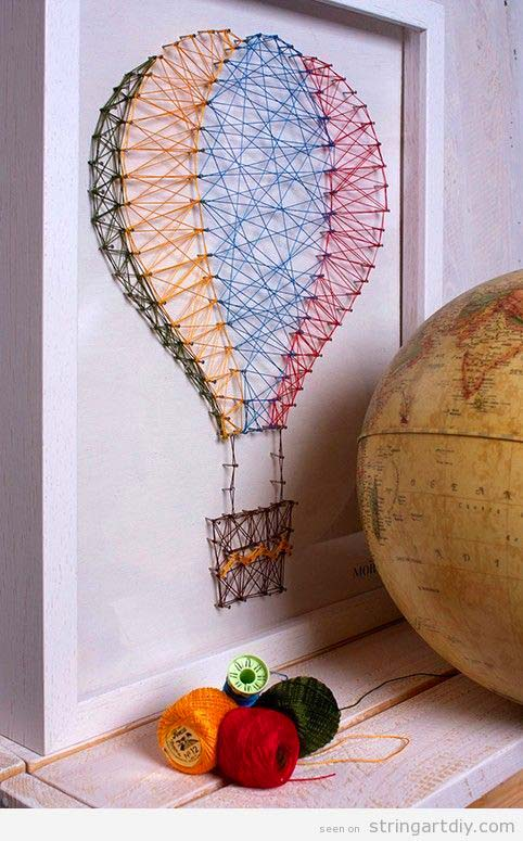Hot Air Balloon String Art #stringart #diy #stringartideas #decorhomeideas