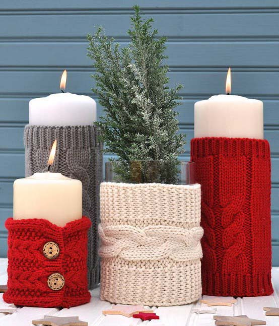 Knitted Candle Holders #Christmas #Christmasdecor #candles #centerpiece #decorhomeideas