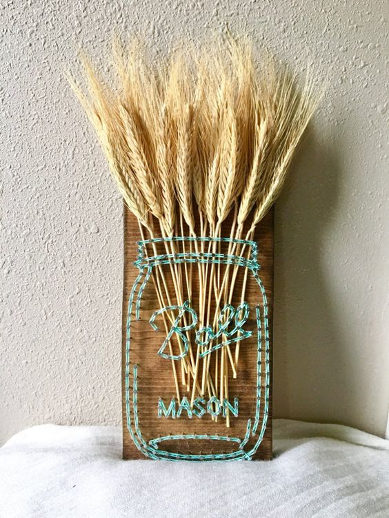 Mason Jar String Art Wheat Decor #stringart #masonjar #decorhomeideas