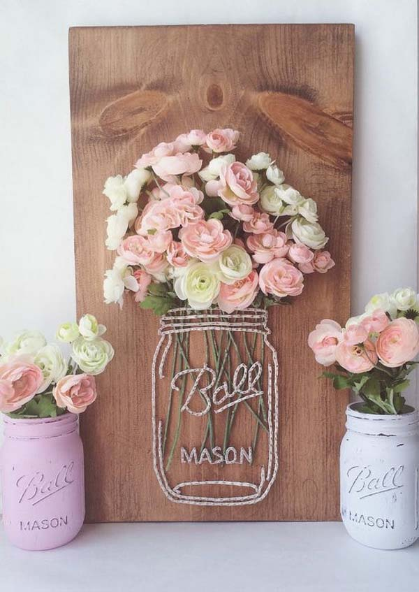 Mason Jar String Art With Flowers #stringart #masonjar #decorhomeideas
