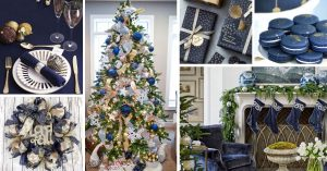 Navy Blue And Gold Christmas Decorations