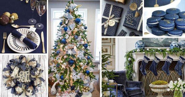 16 Exquisite Gold And Navy Blue Christmas Decorations
