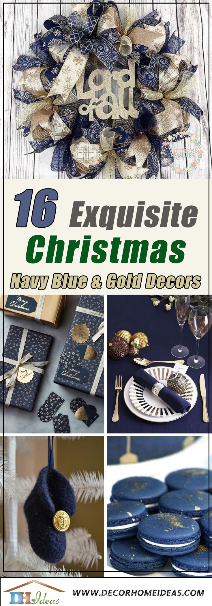 Navy Blue Gold Christmas Decorations #Christmas #Christmasdecor #gold #navyblue #decorhomeideas
