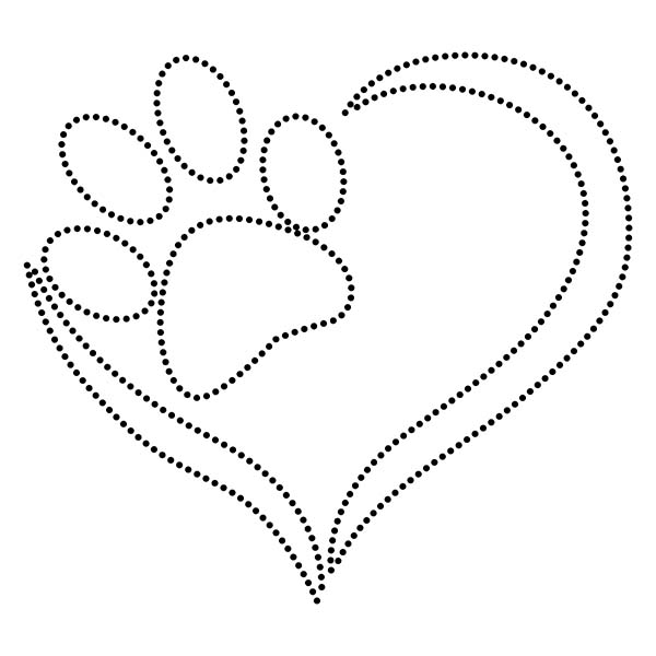 Paw Love Heart String Art Template