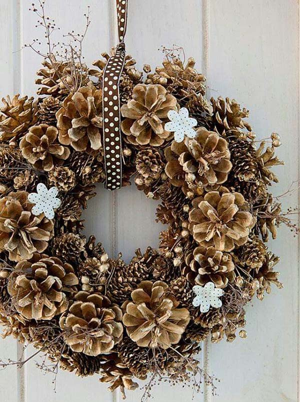 Pinecone Wreath #Christmas #Christmasdecor #pinecones #crafts #decorhomeideas