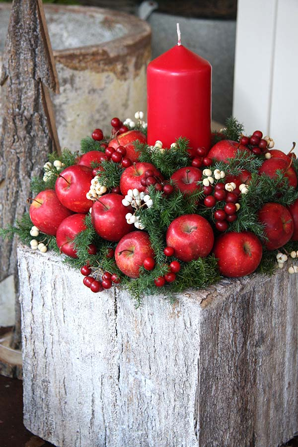 Red Candle With Apples Christmas Centerpiece #Christmasdecor #Christmas #red #reddecor #decorhomeideas