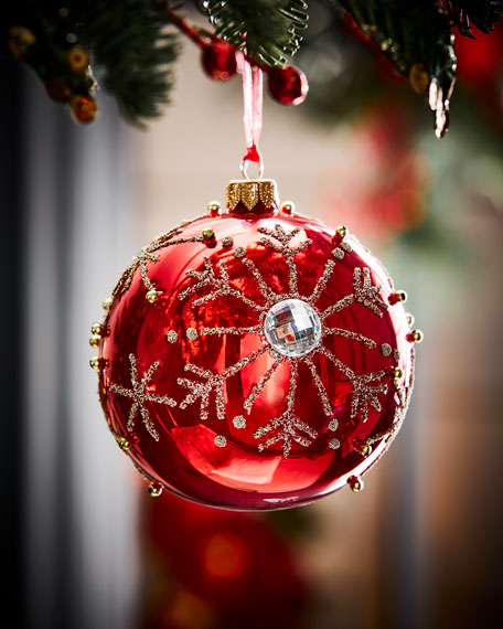 Red Christmas Ball Tree Ornament #Christmas #ornaments #Christmasdecor #decorhomeideas