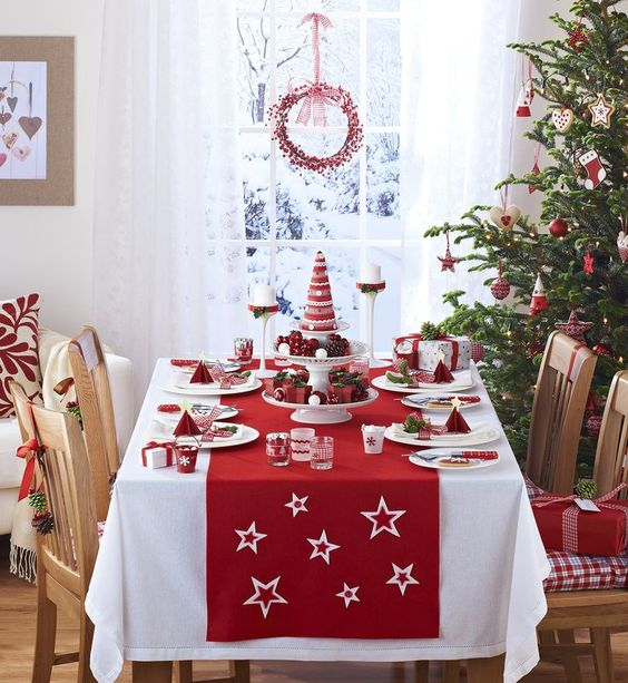 Christmas Table Setting in Red #Christmasdecor #Christmas #red #reddecor #decorhomeideas