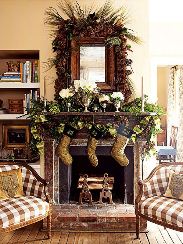 Rustic Fireplace Pinecone Decor #Christmas #Christmasdecor #pinecones #crafts #decorhomeideas
