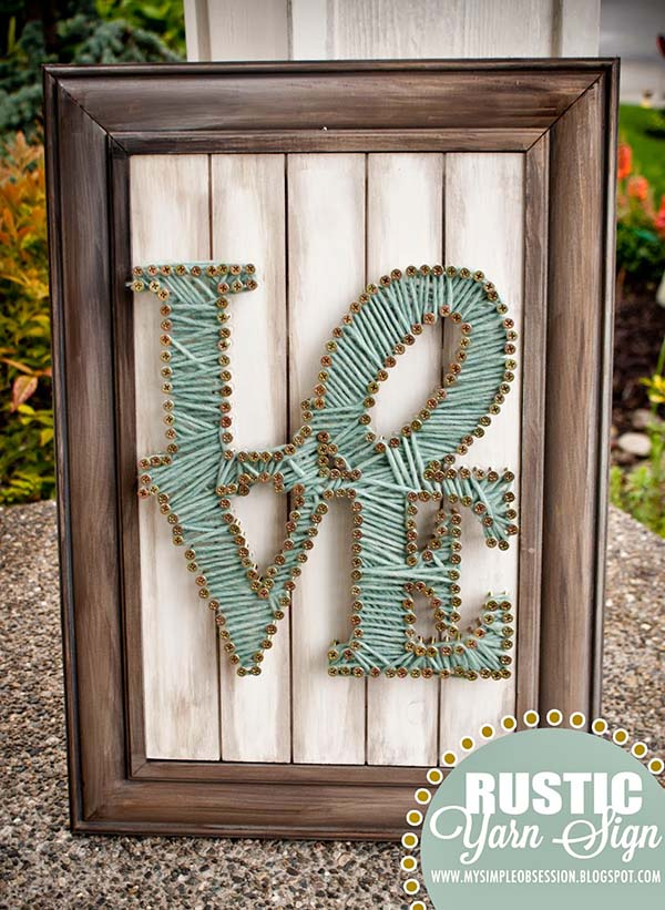 Rustic String Art Sign Love #stringart #diy #stringartideas #decorhomeideas