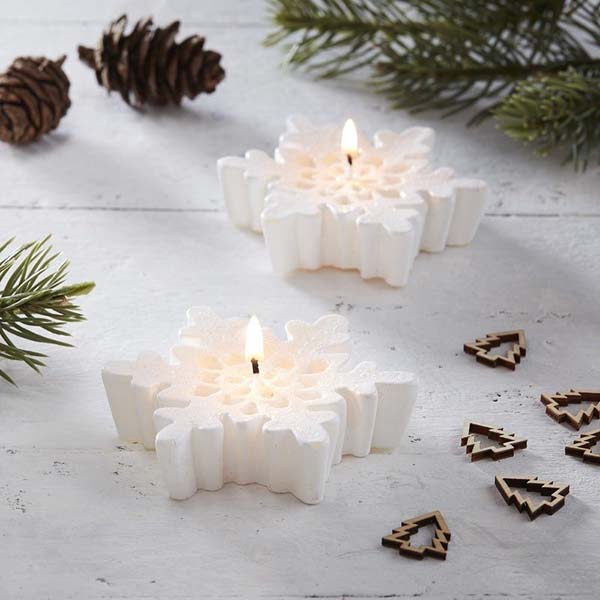 Snowflake Christmas Candles