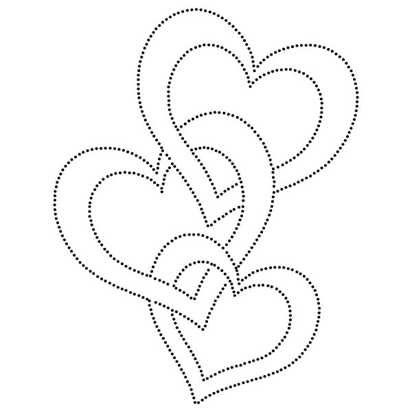 Three Hearts Love String Art Pattern