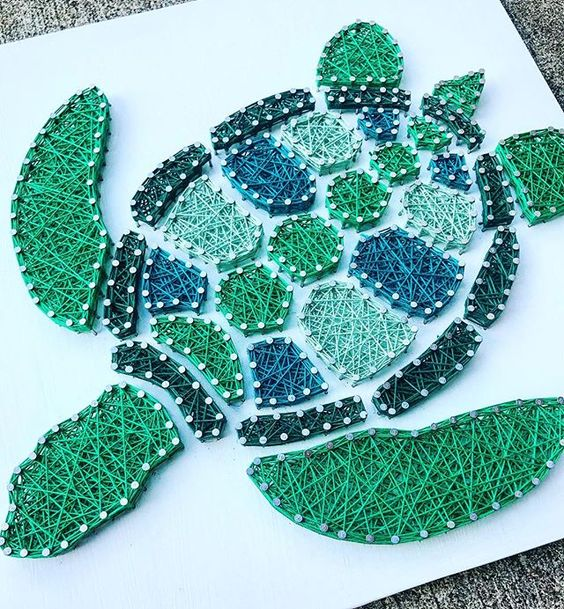 Turtle String Art #stringart #diy #stringartideas #decorhomeideas