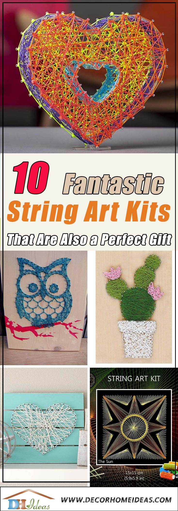 Best String Art Kits that you can use to create beautiful string art desings. Suitable for adults and kids. #stringart #kit #crafts #decor #decorhomeideas