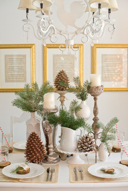 Christmas Table Decoration With Pinecones