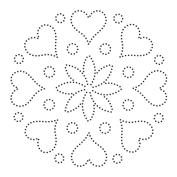 Hearts Flowers String Art Pattern