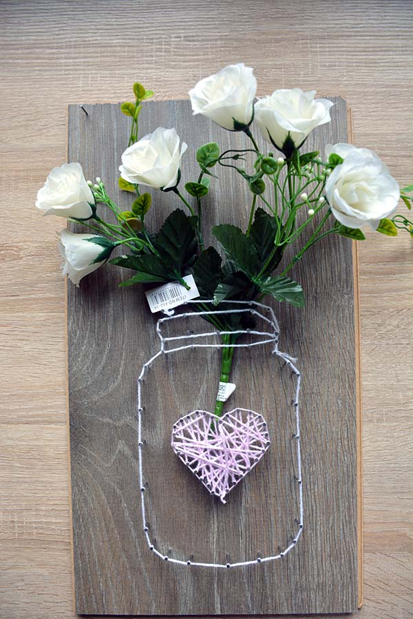 Mason Jar String Art With Roses