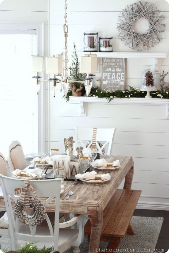 Neutral Rustic Winter Tablescape #rustic #winterdecor #homedecor #decorhomeideas