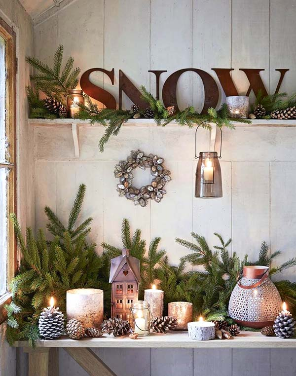 Rustic Winter Decor Snow Sign #rustic #winterdecor #homedecor #decorhomeideas