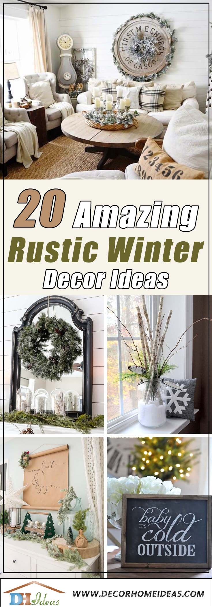Rustic Winter Decorations #rustic #winterdecor #homedecor #decorhomeideas