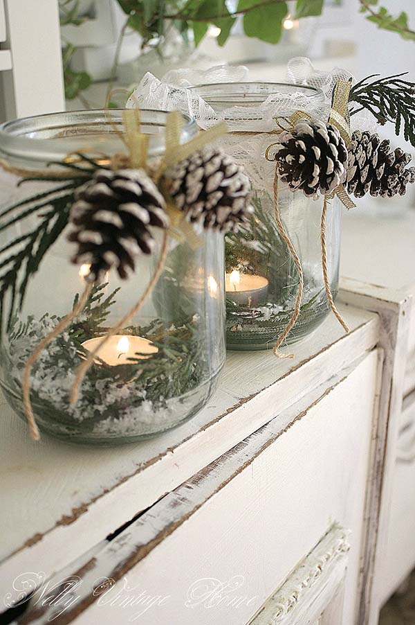 Rustic Winter Mason Jars Decor #rustic #winterdecor #homedecor #decorhomeideas