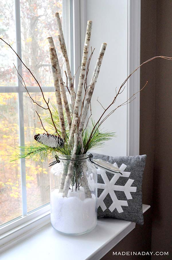 Snow in a Jar Birch Arrangement #rustic #winterdecor #homedecor #decorhomeideas