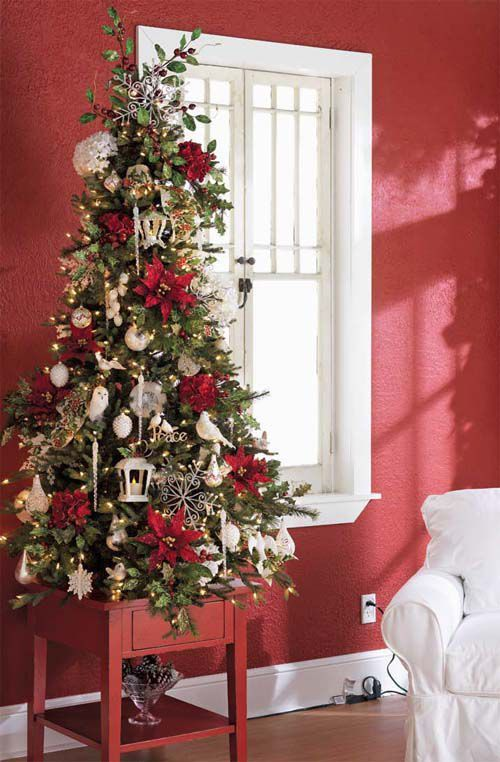 Tabletop Christmas Tree Red Poinsettias #Christmas #tabletop #Christmastree #Christmasdecor #decorhomeideas