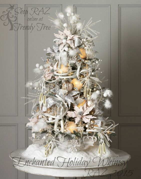 White Silver Tabletop Christmas Tree