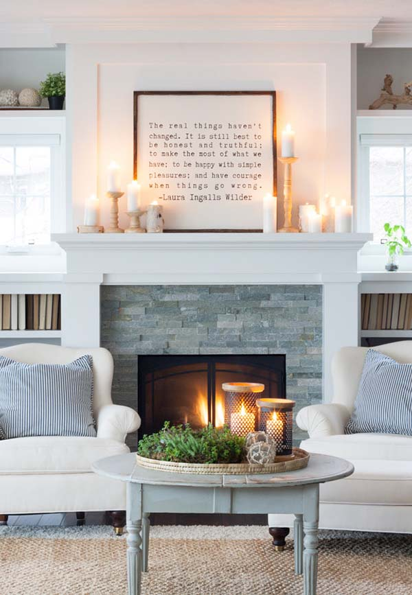 Winter Rustic Mantel Decoration #rustic #winterdecor #homedecor #decorhomeideas