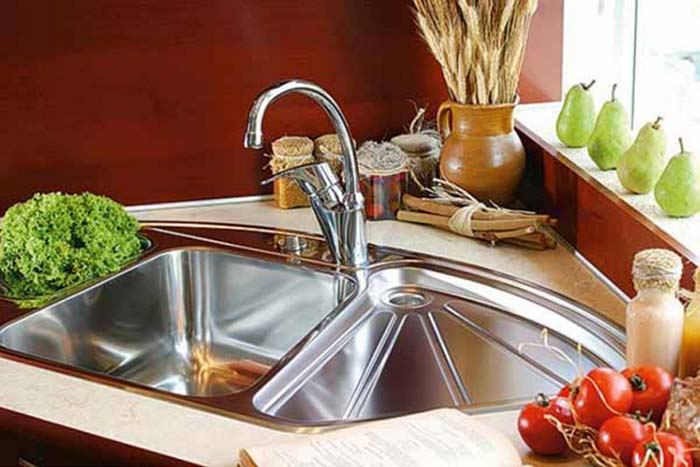 Classic Stainless Steel Corner Sink #cornersink #kitchen #sink #decorhomeideas