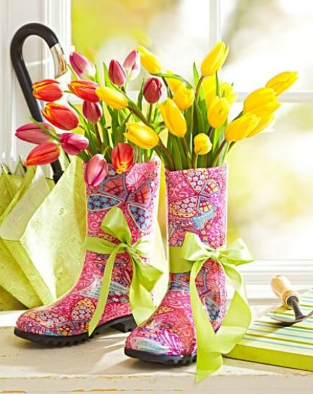 Colorful Boots Centerpiece