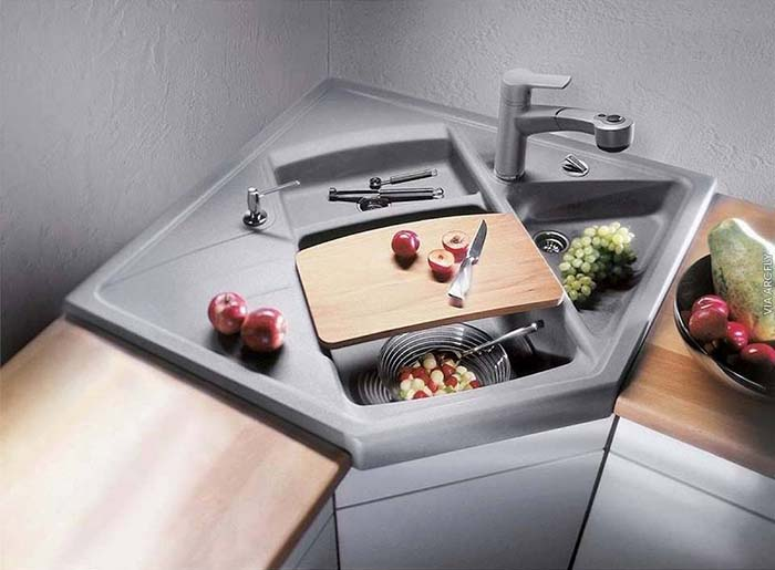 Contemporary Corner Kitchen Sink #cornersink #kitchen #sink #decorhomeideas