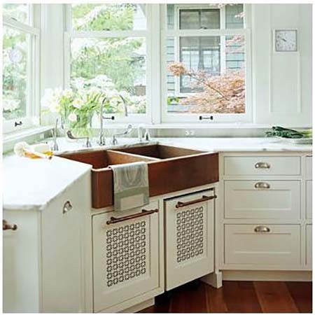 Copper Farmhouse Corner Sink #cornersink #kitchen #sink #decorhomeideas