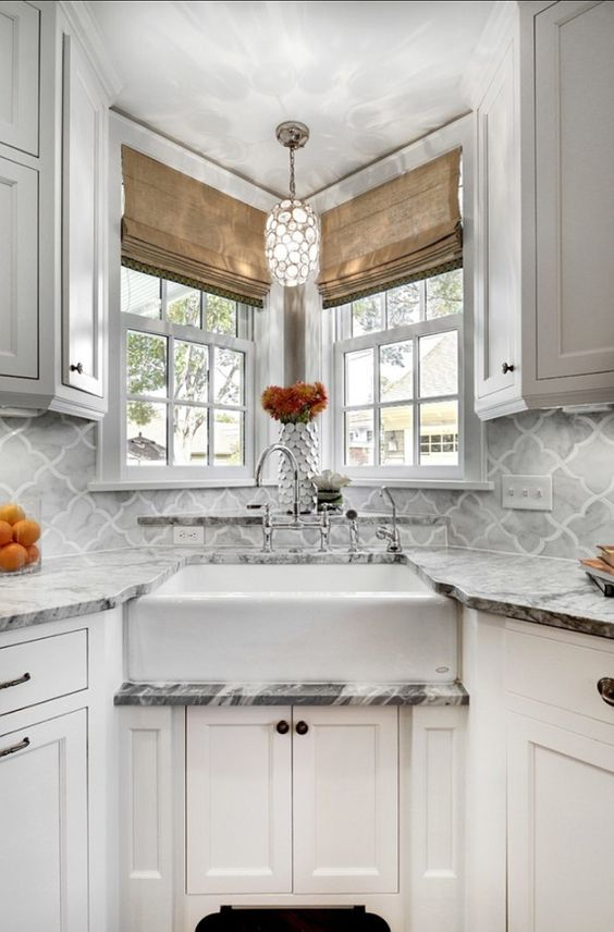 Corner Sink Marble Countertop #cornersink #kitchen #sink #decorhomeideas
