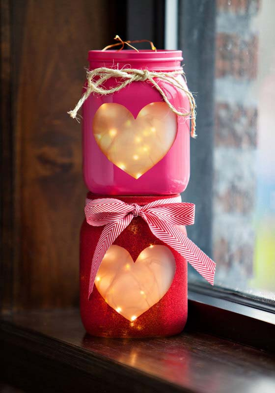DIY Valentines Day Heart Jars Idea #valentinescraft #decor #love #crafts #diy #decorhomeideas