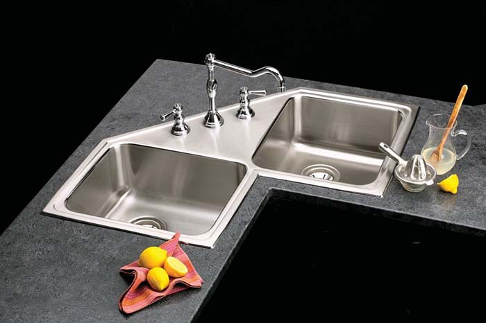 Double Bowl Corner Kitchen Sink #cornersink #kitchen #sink #decorhomeideas